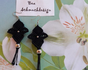Earrings, macrame, hand work, black