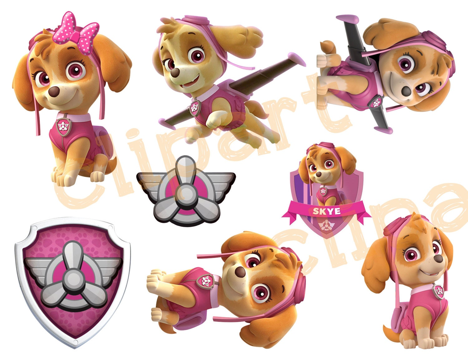 Paw Patrol Skye Printable Stickers Clipart By Designtrunkinc