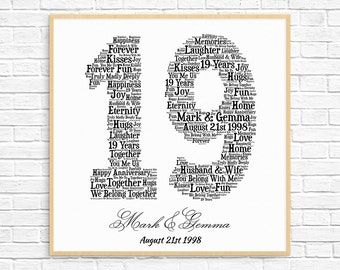 PERSONALIZED 19TH ANNIVERSARY Gift ~ Word Art ~ Printable Art ~ Unique Anniversary gift ~ 19 Year Wedding Anniversary Gift ~ Unique Gift
