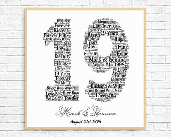 Gift For 19th Wedding Anniversary: PERSONALIZED 19TH ANNIVERSARY Gift Word Art Printable Art