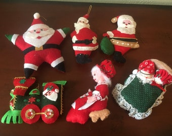 Lot of 6 Handmade Felt Santa Christmas Ornaments