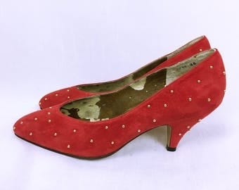 Balenciaga Vintage Studs and Suede Red Pumps