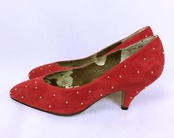 Balenciaga Vintage Studs and Suede Red Pumps