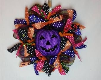 Christmas in July Sale, Deco Mesh Halloween Pumpkin Wreath, Pumpkin Wreath, Jack-O-Lantern Wreath,