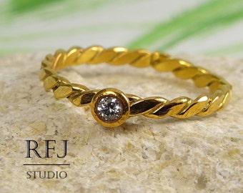 Yellow Gold Plated Flat Rope Lab Diamond Ring, 2 mm White CZ Diamond Flattened Twisted 24K Gold Plated Ring, Gold Diamond Ring, Gold CZ Ring