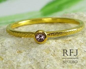 GF Natural Pink Tourmaline Dainty Textured Ring, 2 mm Round Cut October Birthstone 24K Yellow Gold Plated Ring, Tourmaline Gold Stack Ring