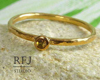 Rose Gold Natural Citrine Hammered Ring, 2mm Round Cut November Birthstone Citrine Stackable Ring 14K Rose Gold Plated Stacking Citrine Ring