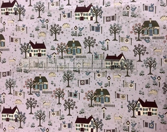 "Garden Fabric, House Fabric: RJR Quilter's Garden -Houses, Trees, Garden  100% cotton Fabric By The Yard 36""x43"" (M91)"
