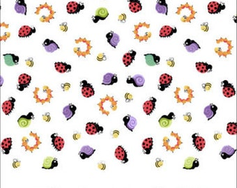 "Susybee Fabric : Susybee's Leif the Caterpillar Monotone Border - Ladybug, Bees, Snail, Clover 100% cotton fabric by the yard 36""x43"" (E321)"