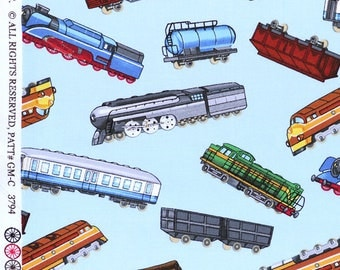 "Train Fabric, Cartoon Fabric: Different kind of trains Toss on Blue by Timeless Treasures   100% Cotton Fabric by the yard 36""x43"" (K372)"
