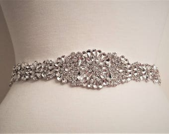 Wedding Belt, Bridal Sash Belt - Silver Crystal Wedding Sash Belt = 16 1/2 inch long