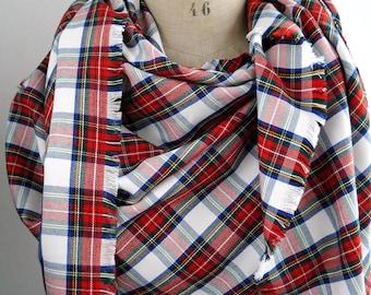 plaid blanket scarf, red tartan scarf, white tartan, scottish scarf, oversized tartan scarf, tartan plaid scarf, tartan scottish shawl