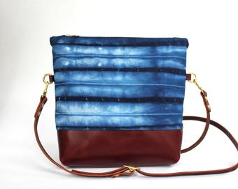 Waxed Canvas and Leather Indigo-dyed Convertible Crossbody Bag/Clutch - shibori/maroon - LAST ONE