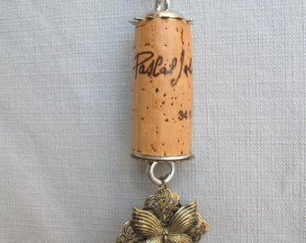 Butterfly Cork Rear View Mirror Dangler | Wine Cork Dangler | Charm Dangler | Wine Lover's Gift | Recycled Cork Dangler | MOther's Day Gift