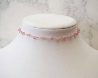 Light Pink Beaded Choker Necklace