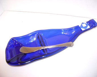 Recycled Upcycled Slumped Melted Cobalt Blue Wine Bottle Serving Dish and Cheese Knife
