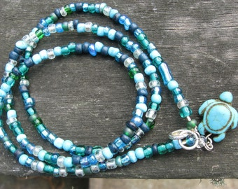 Blue Multicolor Glass Bead Mix Necklace or Triple Wrap Bracelet with Turquoise Turtle charm