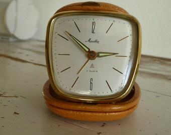 Mauthe alarm clock vintage timer clock Jasper clock leather case vintage