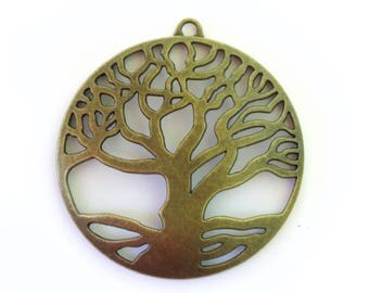 5- Antiqued Bronze  Large Tree Charms - 61 x 58mm