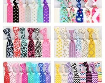 Hair Ties ~ 50 Pack GRAB BAG PATTERNS Handmade Trendy Ponytail Holders Knotted Stretchy Elastic Yoga Hair Bands