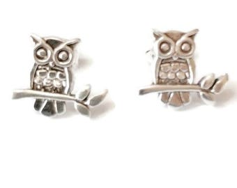 Sterling Silver Owl on Branch Stud Earrings/Highly polished/Gifts/wedding/bridesmaid