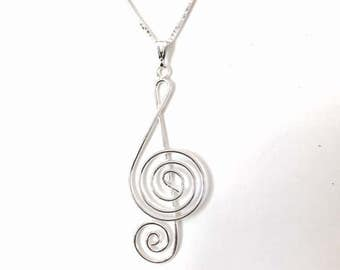 Sterling Silver Treble Clef/ Musical Note Necklace