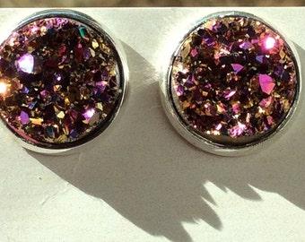 12mm- Multicolor/Magenta Druzy earrings