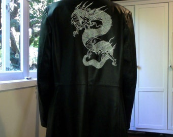 Hand painted Dragon leather coat