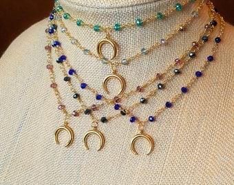Sale! Rosary cresent moon choker- rosary chain necklace, beaded chain choker, beaded choker, horn charm choker, moon charm choker