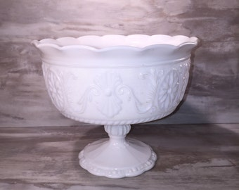 Milk Glass Pedestal Dish- Milk Glass Serving Bowl -