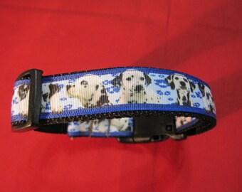 "Pet Dog Adjustable ""Dalmations"" Medium Size Collar 12""-19"""