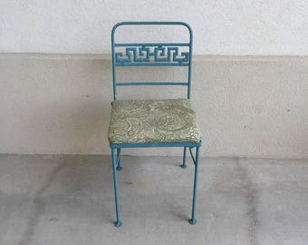 Vintage Iron Chair with Faux Bamboo Greek Key chair back detail
