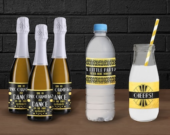 1920s Great Gatsby Printable Mini Champagne Bottle Wraps // 30th Birthday Party // 1920s Party Bottle Wraps // Water Bottle Wraps // 1920s