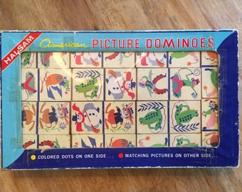 1960's Complete American Picture Dominoes (large) by Halsam No. 1600