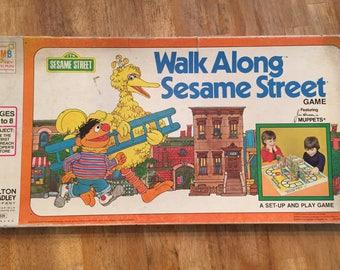 1975 Complete Walk Along Sesame Street Game by Milton Bradley No 4428