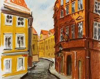 Urban sketch. Prague, Praha, street.