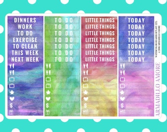 Watercolor Weekly Header Set {60 Fancy Matte Repositionable Planner Stickers, Watercolor Theme} | #17-227