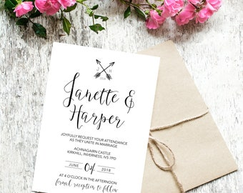 Rustic Arrows Design - Digital Wedding Invitation Template, Print at Home on any paper