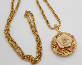 Porcelain & Enamel Floral Locket Necklace