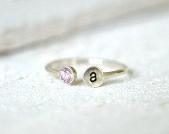 Personalized Ring. Gemstone Ring, Dual Gemstone Ring, Two Stone Ring, Initial Ring, Name Ring, Letter Ring, Mothers Ring, Birthstone Ring