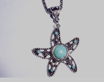 Very Nice Starfish Silver Plated Turquoise Pendant necklace