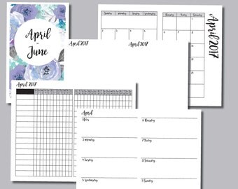 B6 Size: APRIL - JUNE 2017 Week on 2 Pages (Monday Start) Horizontal Travelers Notebook Insert