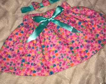 Funky hearts skirt and matching bow