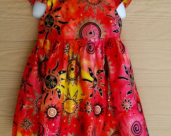 Orange Yellow Sun Moon & Stars Indian Batik Dress
