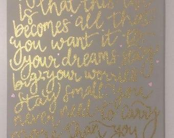 my wish lyrics canvas 11x14