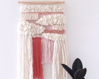 Woven Wall Hanging: Boho Tapestry, Candy Mallow Weaving