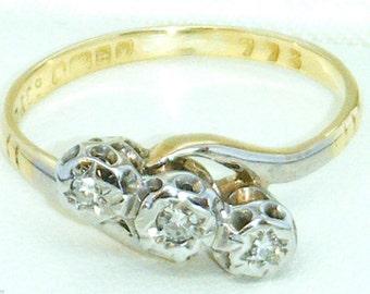 Antique Edwardian 18 ct Triple Diamond Ring Size 7