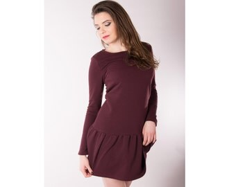 Womens burgundy dress - Activewear cotton dress - Woman mini dress - Frilled bottom dress - Long sleeves dress - Sporty dress - UM44L-16K