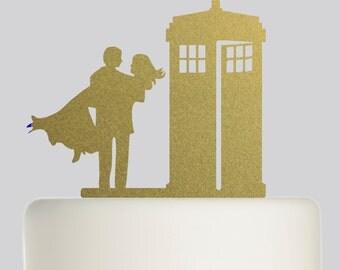 Wedding Cake Topper - Doctor Who Tardis Bride Groom Wedding Topper - Acrylic Cake Topper - Mr and Mrs Cake Topper - Bride and Groom .300