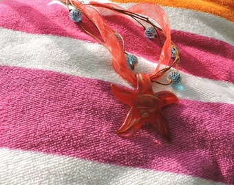Red Starfish and Bubble Necklace